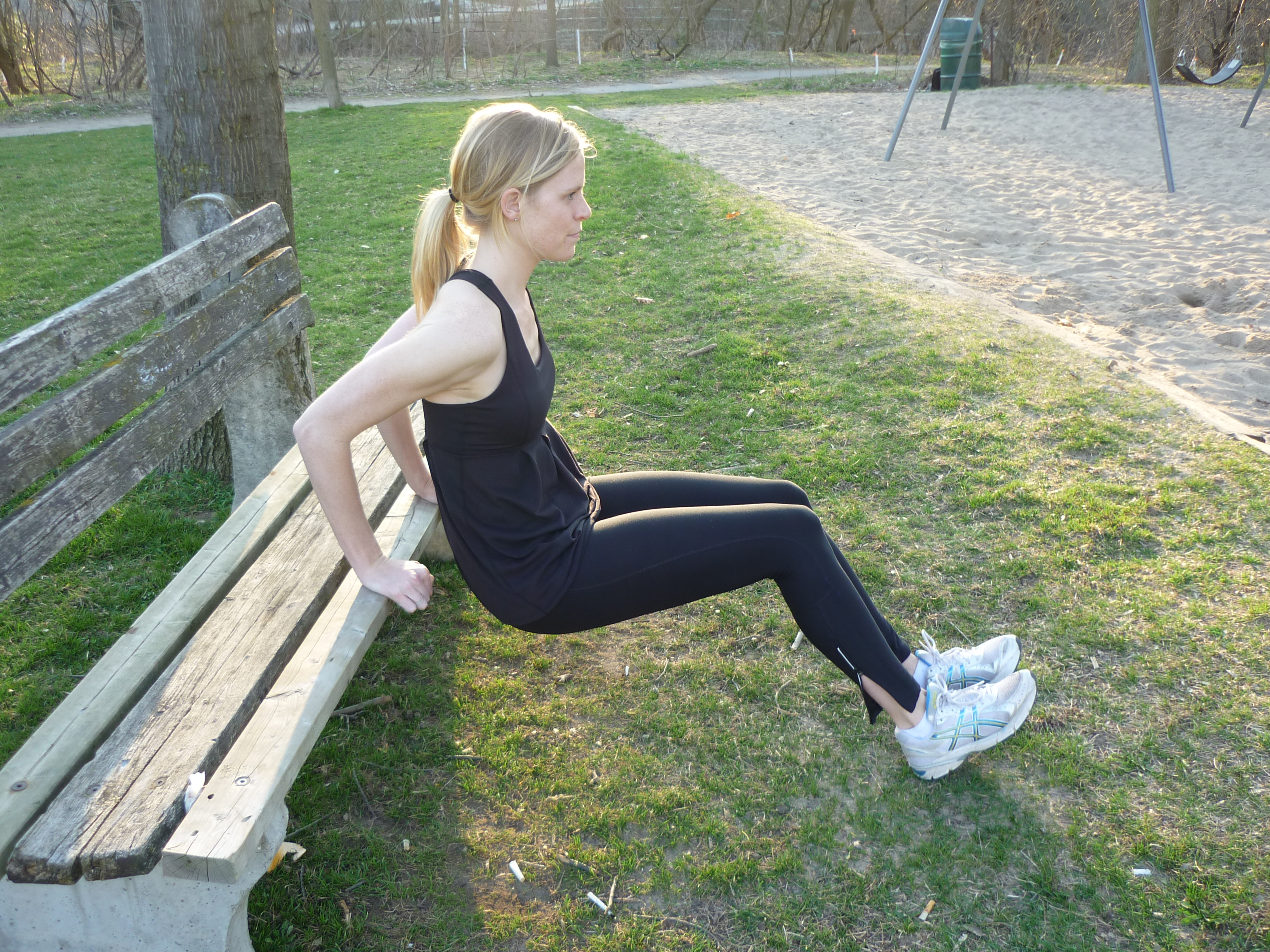 Chair dips on the park bench